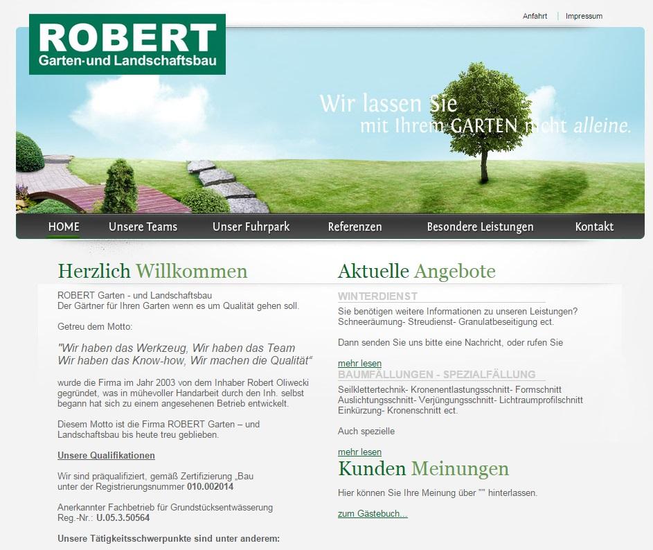 Homepage Layout Beispiel Garten- und Landschaftsbau