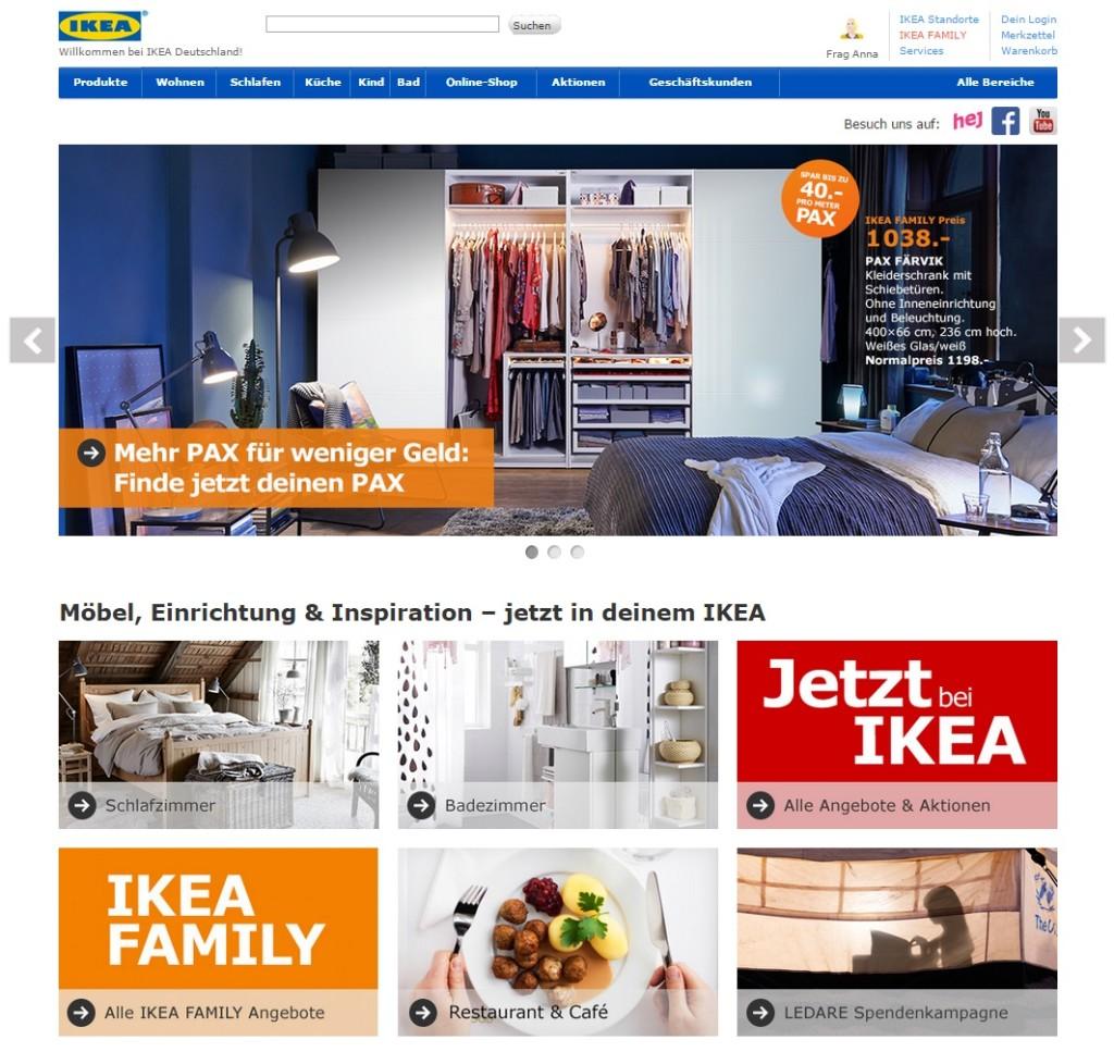 Klares Homepage Layout Beispiel Ikea
