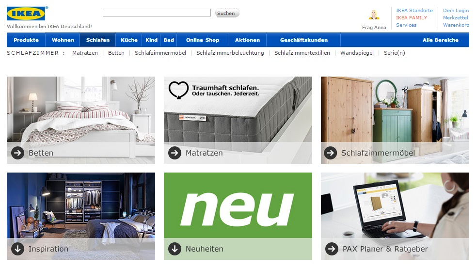 Website Kategorieseite Beispiel Ikea