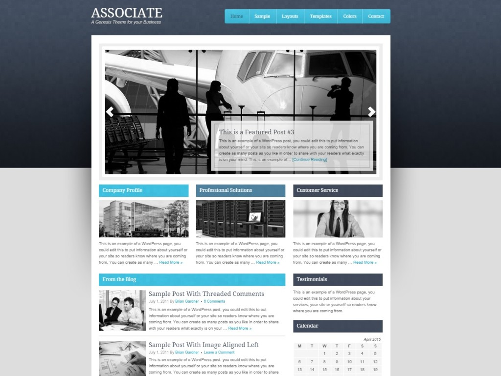 Wordpress Theme Beispiel Associate von Studiopress