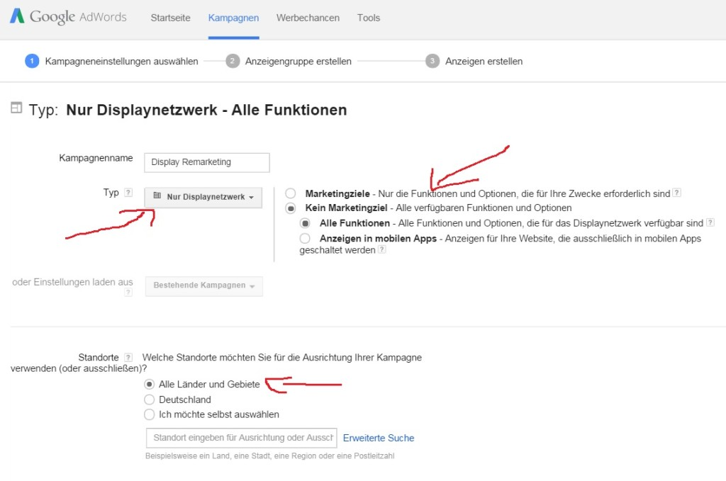 AdWords Display Remarketing - Einstellungen