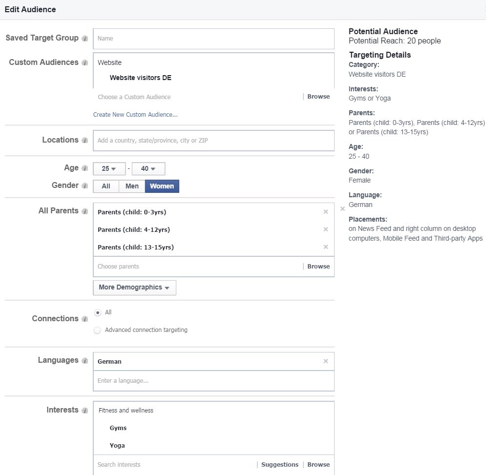 Facebook Remarketing konkrete Zielgruppe