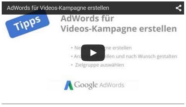 AdWords Video Kampagne erstellen