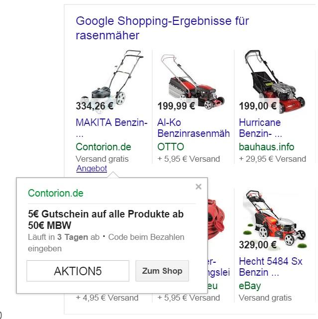 Google Shopping Anzeige mit Angebot