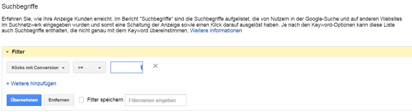 AdWords Suchbegriffe Conversion-Filter
